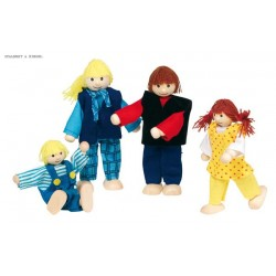 Young family, flexible puppets